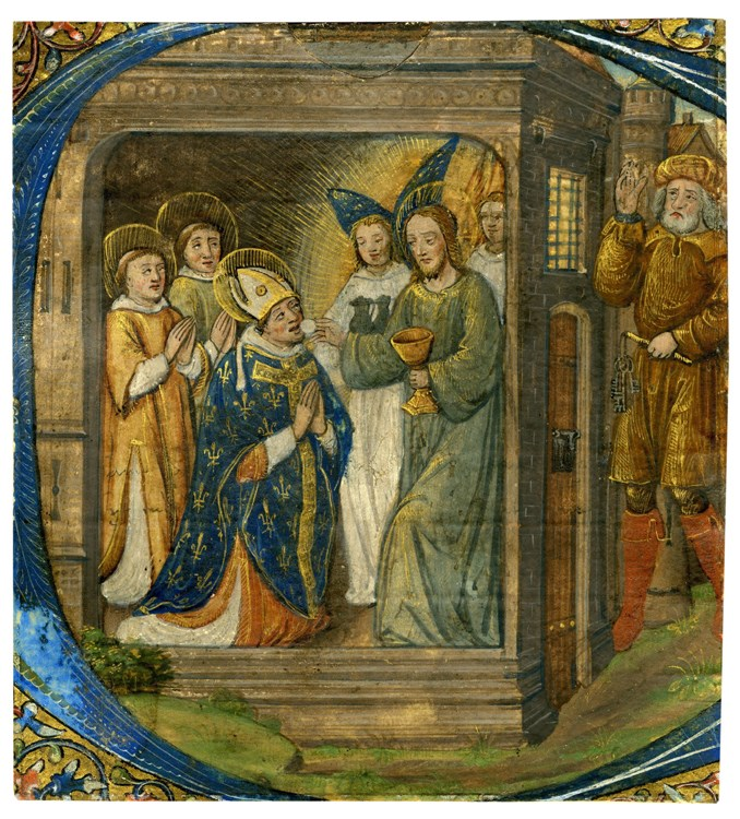"Communion of St. Denis in an Initial ""C"""